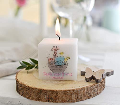 3 Stück - Personalisierte Kerze - Gastgeschenk zur Kommunion, Konfirmation, Firmung, Taufe