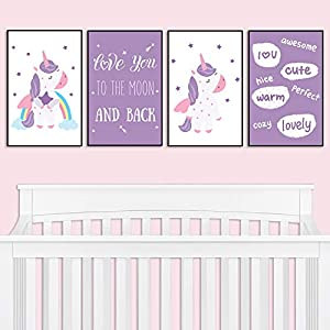 Nursery Decor – Unicorn Baby Nursery Wall Art Decor | Decorative & Easy to Frame Nursery Printed Picture 11×17-inch | Set of 4 (UNFRAMED) Wall Art Prints | Nursery Decor Newborn Gift