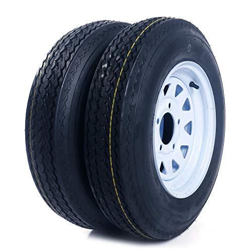 "2 Trailer Tires & Rims 5.30-12 P811 6PLY 530-12(5lug) Load Range C bias tire 5 on 4.5"" Hole Bolt White Spoke Wheel tire"