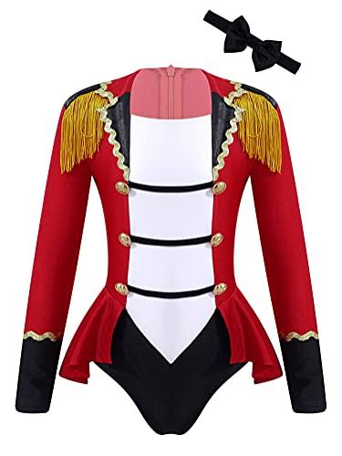 Alvivi Maillot de Danza Ballet para Niña Maillot Manga Larga de Patinaje Artistico Disfraz de Domador de Circo de Fiesta Halloween Navidad Carnaval Rojo 13-14 años