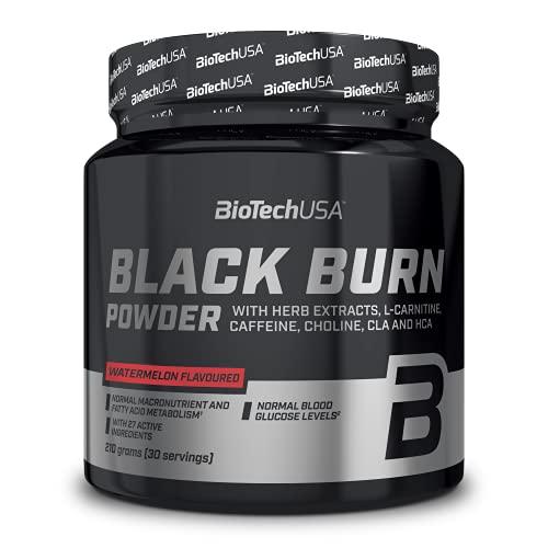 BioTechUSA Black Burn bevanda in polvere con estratti vegetali, L-carnitina, colina, inositolo, CLA, HCA, aminoacidi, vitamine e minerali, 210 g, Anguria