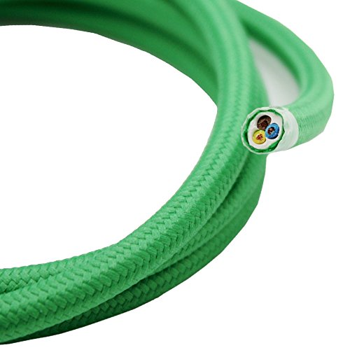 Textielkabel groen lengte selecteerbaar 1,20/3/5/10 meter 3-aderige stofkabel lampenkabel ronde kabel omsponnen 1,20 Meter