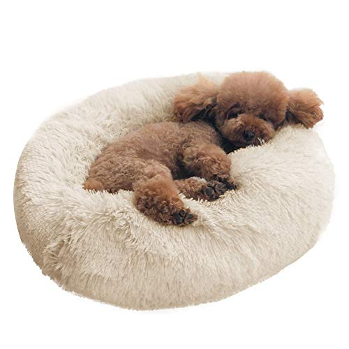 BinetGo Dog Bed Cat Bed Cushion Bed Faux Fur Donut Cuddler for Dog and Cat Joint-Relief and Improved Sleep – Machine Washable, Waterproof Bottom (Medium, Beige)