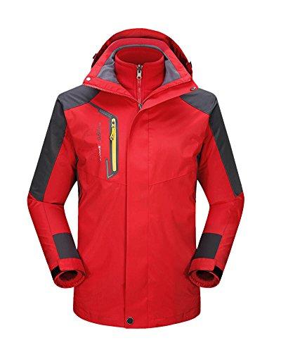 DianShao Herren Damen 3 In 1 Skijacke Sport Outdoor Wasserdicht Trekking Jacke Atmungsaktiv Mantel Herren Rot XL