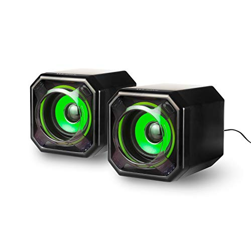 Computer Speakers 2.0 USB-Powered Desk top Speakers with Far-Field Drivers and Passive Radiators for Pcs and Laptops (Green)