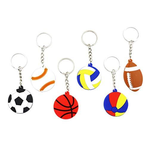 NUOBESTY de deportes de pelota pelota de playa llavero de baloncesto de fútbol pvc tenis voleibol colgando colgante llavero para los niños de los muchachos 10pcs