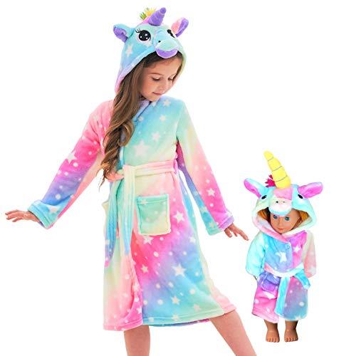 Unicorn Hooded Bathrobe Sleepwear Matching Doll & Girls Gifts (Rainbow Star, 5-6 Years)