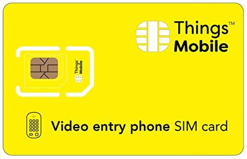 Tarjeta SIM para VIDEOPORTERO - Things Mobile - con cobertura global y red multioperador GSM/2G/3G/4G LTE, sin costes fijos, sin vencimiento y con tarifas competitivas, con 10 € de crédito incluido