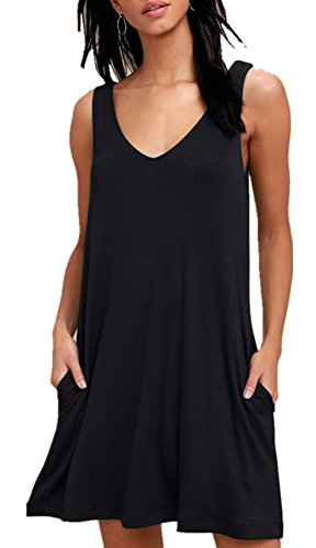 BISHUIGE Women Summer Beach Dresses Bikini Dress Swimsuit Cover Ups 2XL, Black