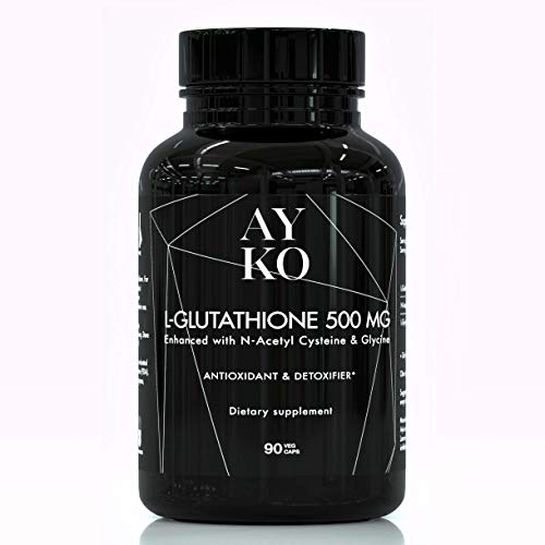 AYKO Reduced Glutathione 500 mg - L-Glutathione Skin Whitening Pills with NAC and Glycine - Antioxidant and Anti Aging Effect with Lungs and Liver Support - Detox - 90 Vegeterian Capsules