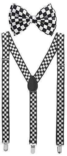 Man of Men - Men's Black & White Checkered Bowtie & Suspender Set