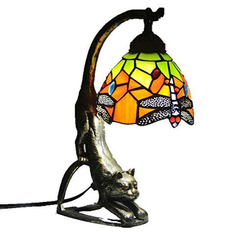 Milu deer Lámpara de Mesa Retro, lámpara de Mesa en Forma de Gato de Vidrio, mediterráneo, lámpara de Estudio de Estilo Pastoral Barroco, mediterráneo. (Color : D)