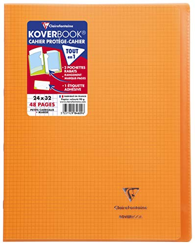 Clairefontaine 984609C - Un cahier piqué Koverbook 48 pages 24x32 cm 90g petits carreaux avec marge, couverture polypro (plastique) transparente, Orange