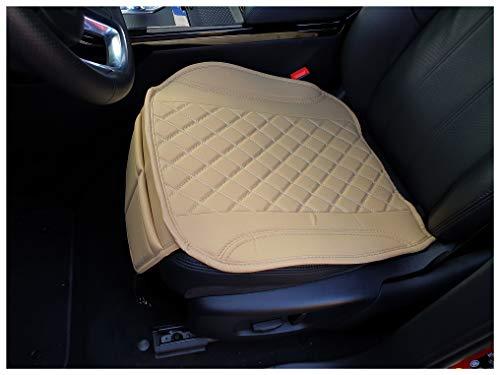 Sitzauflage Kunstleder Karamel Beige mit Weißen Nähten passend für Ford Mustang 6 Sitzbezüge Auto Sitzauflage Sitzkissen OT405