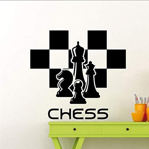 Calcomanía De Ajedrez Piezas De Ajedrez Etiqueta De La Pared Chessmen Mural Home Living Room Design Interior Art Decoration Any Room Vinyl Sticker 57X63Cm