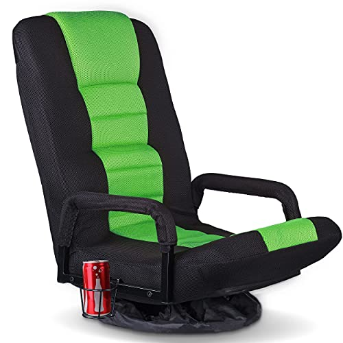 Swivel Gaming Floor Chair for Adults Teens,360 Degree Video Game Chairs with Folding Adjustable Backrest,Lazy Sofa Lounger for TV, Reading, Playing, Green