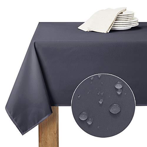 RYB HOME Abwaschbare Tischdecke Grau - 1 Stück Tragbare Tischdecke für Frühling Picknick Tischwäsche Schmutzabweisend, Eickig, H 213 x B 150 cm