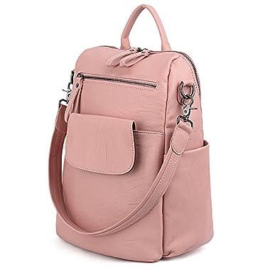 UTO Women Backpack Purse 3 ways PU Washed Leather Ladies Rucksack Shoulder Bag Pink