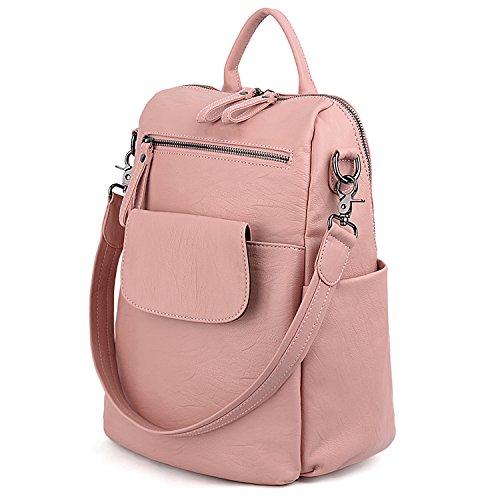 UTO Damen Rucksack Geldbörse 3 Möglichkeiten PU gewaschen Leder Damen Rucksack Schultertasche Pink