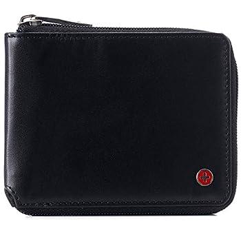 Alpine Swiss Logan Mens RFID Safe Zipper Wallet Leather Zip Around Bifold Comes in Gift Box Black