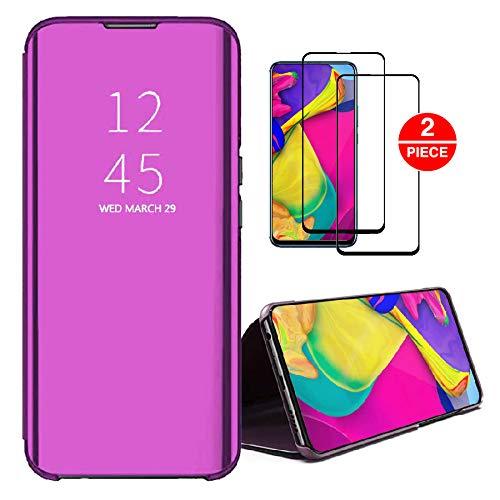 SENSBUN Funda compatible para Huawei Mate 20 Lite +2 unids Protector de pantalla de vidrio templado Clear View Cover Flip Case Full Body Protection para Huawei Mate 20 Lite, morado