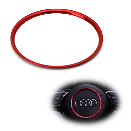 iJDMTOY (1) Red Aluminum Steering Wheel Center Decoration Ring Cover Trim Compatible With Audi A3 A4 A5 A6 TT S3 S4 S5 S6 Round Shape Center Emblem
