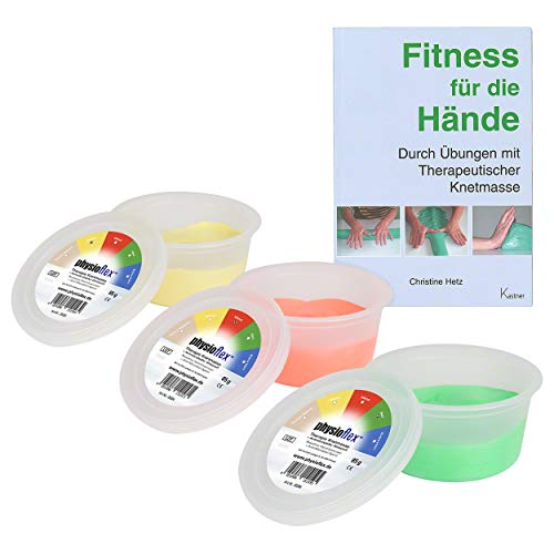 Physioflex Therapie-Knetmasse, Set: 85 g, soft, medium, strong, inkl. Buch
