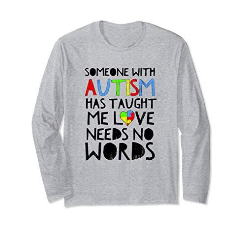 Concienciación sobre el autismo Amor sin palabras Corazón Manga Larga