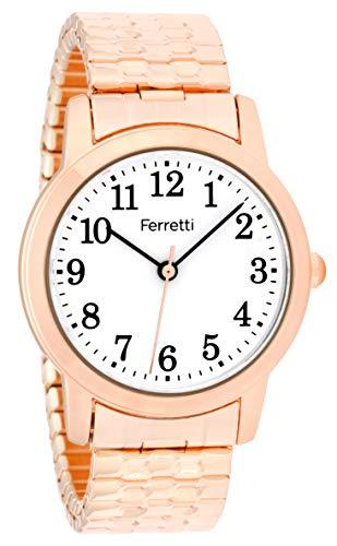 Ferretti Donna | Orologio da polso classico d'oro rosa con grandi numeri e espansione | FT16004