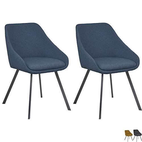 Nimara 2er Set Layla Stoff Esszimmerstuhl | Esszimmerstühle in der Küche, Wohnzimmer, Esszimmer anwendbar | Polstersessel in skandinavisch Design (Blau)