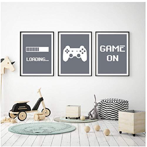Juego Minimalista Arte Lienzo Cartel Pintura Niños Habitación Decorativa, Videojuego Imágenes de Pared Imprimir para Gamer Room Decoración 30x42cmx3Pcs Sin Marco