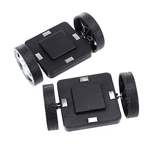 ROSENICE 2 Stück Magnet Räder für Magnetische Bausteine Konstruktionsspielzeug (Schwarz)