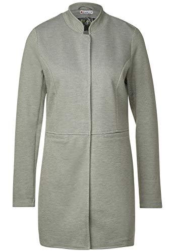 Street One Damen Jersey Mantel mit Piqué Shady Olive Melange 38