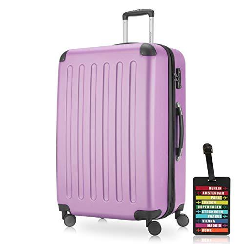 Hauptstadtkoffer - Spree - Carrello portavaligie a guscio duro, espandibile, 4 ruote, TSA, 75 cm, 119 litri, lilla + Etichetta per i bagagli