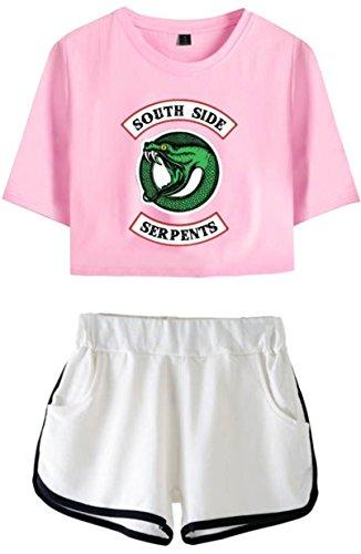 OLIPHEE OLIPHEE Kurzarm Rundhals T-Shirt + Kurze Hose Bekleidungssets für Mädchen mit Riverdale Southside Serpents Aufdruck Streetwear Anzug Rosa Weiß XS