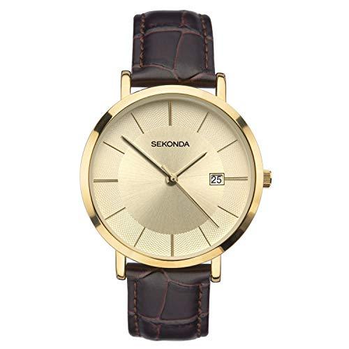 Sekonda Reloj clásico con correa marrón para hombre