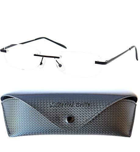 Leichte Metall Lesebrille Randlos mit Ovalen Gläsern - inklusive GRATIS Brillenetui und Brillenputztuch, Edelstahl Rahmen (Schwarz) mit Federscharnier, Lesehilfe für Damen und Herren +1.5 Dioptrien