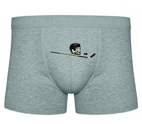 Druckerlebnis24 Boxershort Eishockey- Puck- HOCKEYSCHLÄGER- Spiel- Helm- Spielen- Sport S- XXL Sexy Unterhose Slip Shorts
