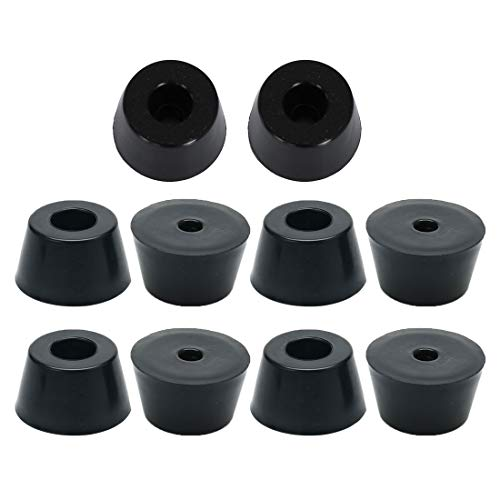 uxcell 10 Pcs 19.5mm x 12mm Conical Recessed Rubber Feet Bumpers Pads Black