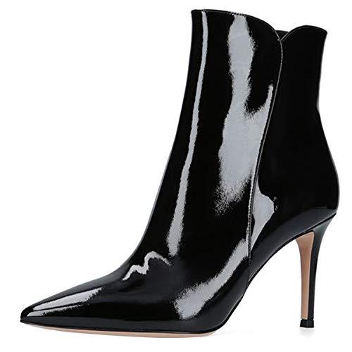 Soireelady Pumps mit Spitzen Zehen Damen Stiletto Stiefel Reißverschluss High Heels Kurzschaft mit 8 cm Lackleder High Heels Stiefeletten mit Absatz