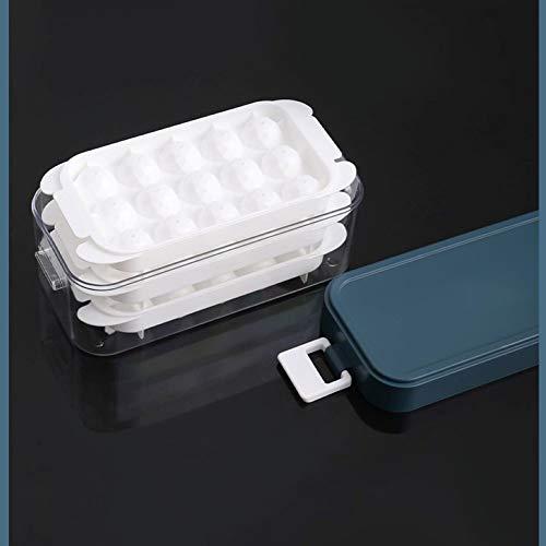 LLKK Juego de Caja de Hielo para Molde de Cubitos de Hielo congelado, refrigerador con Tapa, Molde para paletas de Hielo Hecho en casa, artefacto de Bandeja de Hielo