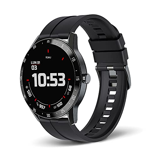 Molvu T6 Advanced Sport Smartwatch for Android and iPhone, Fitness Tracker, 24/7 Heart Rate, Sleep, Step and Active Calories Monitor, 1.3 inch Touch Screen, Waterproof, Message and Call Notifications
