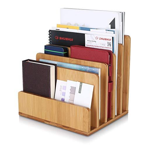 Homfa Bambus Briefablage Schreibtisch a4 Dokumentenhalter Dokumentenablage Papierablage Zeitschriftenständer Ablagefächer Prospekthalter Ablagesystem 5 Fächer 24,5x20,5x23CM(BxTxH)