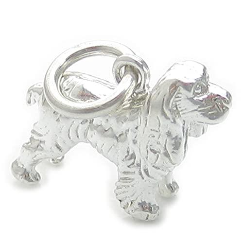 Abalorio de plata de ley 925 x 1 de perro Spaniel con diseño de perros felices