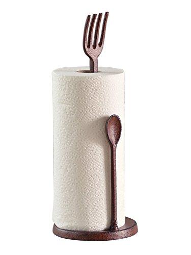 Comfify - Gusseisen - Gabel- und Löffelpapierrollenhalter - Metall, strapazierfähig, rustikal, Vintage, braun -41.25cm groß