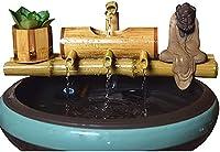 LZQBD 水の噴水テーブルの噴水竹の水の再割ょうらfeng Shuiの装飾石トラフフィルターオフィスデスクトップの家具デスクトップの風景禅装飾,40Cm