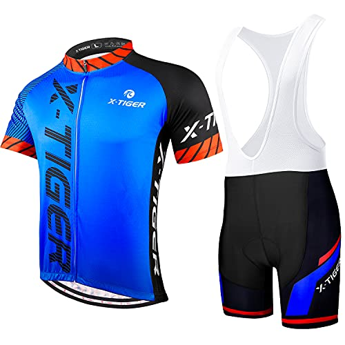 X-TIGER Hombres de Bicicleta con 5D Gel Acolchado MTB Ciclismo Tirantes Culotte Pantalones Cortos Culotes (#4, XL(CN)=L(EU))