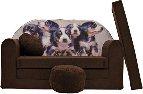 Pro Cosmo K7 Kinder-Schlafsofa mit Sitzkissen, Stoff, Rot, 168 x 98 x 60 cm, Baumwolle, braun