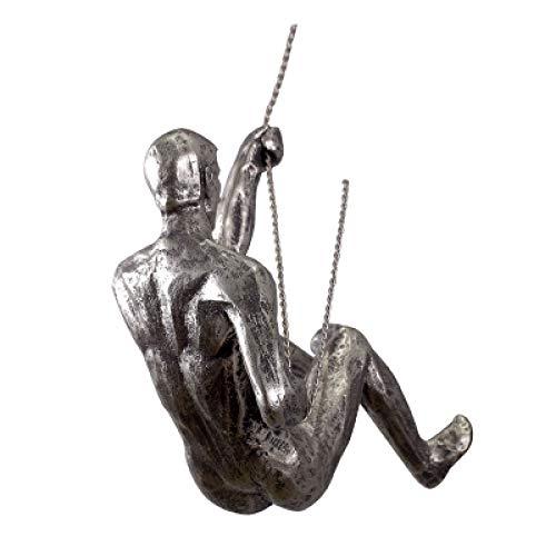 Jokerzi Figura decorativa de calavera, estilo industrial, con alambre de hierro, de resina, para colgar en la pared, diseño retro