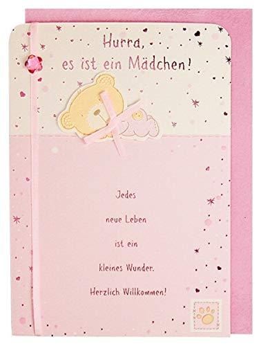 Glückwunschkarte Geburt Baby Mädchen mit Spruch und Applikation